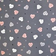 Jersey, pamuk, srca, 18285-021, siva - Svijet metraže