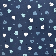 Jersey, bombaž, srčki, 18285-022, modra