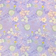 Jersey, bombaž, cvetlični, 18263-3005, vijola
