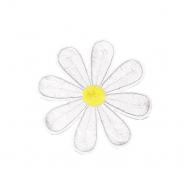 Našitek, cvetlični, 18343-001, bela