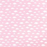 Bombaž, poplin, oblaki, 18421-5, roza