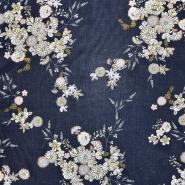 Bombaž, tanek, cvetlični, 18157-10