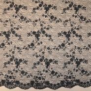 Čipka, cvetlični, 18459-2, črna