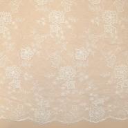 Čipka, cvetlični, 18464, bež bela