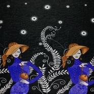Jersey, poliester, modni, 18445-06, crno-plava