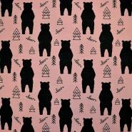 Jersey, pamuk, životinjski, 18526-12, ružičasta