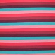 Jersey, bombaž, črte, 18238-015, roza rdeča