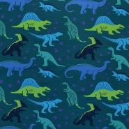 Jersey, bombaž, živalski, 17939-024, modro zelena