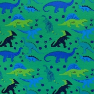 Jersey, bombaž, živalski, 17939-025, zeleno modra