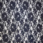 Čipka, elastična, cvetlični, 18696-600, temno modra