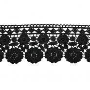 Čipka, 80mm, cvetlični, 18945-002, črna