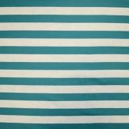 Jersey, Baumwolle, Streifen, 18947-107, türkis-weiß