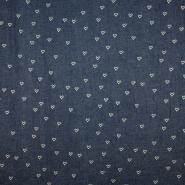 Jeans, prožen, srčki, 19054-408, temno modra