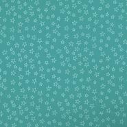 Bombaž, poplin, zvezde, 19134-021, turkizna