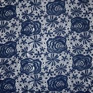 Čipka, elastična, cvetlični, 19157-008, modra