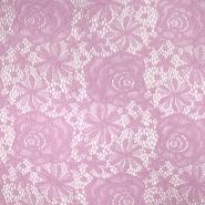 Čipka, elastična, cvetlični, 19157-012, roza