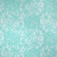 Čipka, elastična, cvetlični, 19157-021, mint