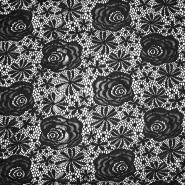 Čipka, elastična, cvetlični, 19157-069, črna
