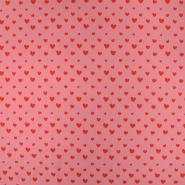Jersey, bombaž, srčki, 19166-012, roza