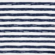 Jersey, bombaž, črte, 19192-61359, belo modra