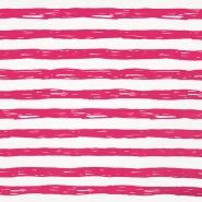 Jersey, bombaž, črte, 19192-61360, belo roza