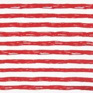 Jersey, bombaž, črte, 19192-61362, belo rdeča
