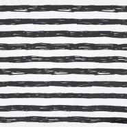 Jersey, bombaž, črte, 19192-61361, belo siva