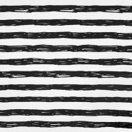Jersey, bombaž, črte, 19192-61354, belo črna