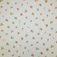 Deko, tisk, impregniran, cvetlični, 19207-6154, rdeča