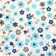 Deko, tisak, impregniran, cvjetni, 19207-6030, plava