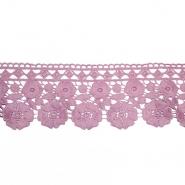 Čipka, 80mm, cvetlični, 18945-265, roza