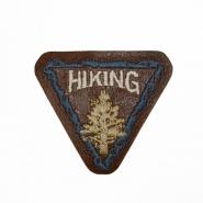 Aufnäher, Kunstleder, Hiking, 19261, braun