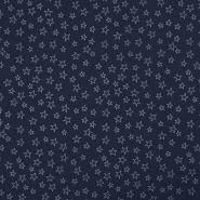 Bombaž, poplin, zvezde, 19134-008, modra