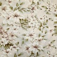 Tkanina, viskoza, cvetlični, 19145-052, bež