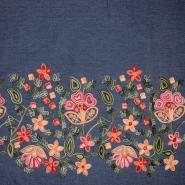 Jeans, srajčni, vezen, cvetlični, 19324-002, modra