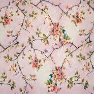Saten, poliester, digital, cvetlični, 19326-012, roza