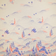 Žakard, cvjetni, 19397-3, bež-plava