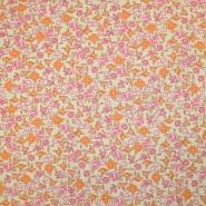 Bombaž, poplin, cvetlični, 19490-2, roza bež