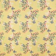 Jersey, bombaž, cvetlični, 19498-38, rumena