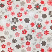 Deko, tisak, impregniran, cvjetni, 18277-6027, crvena - Svijet metraže