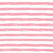 Jersey, bombaž, črte, 19192-61356, belo roza