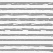 Jersey, bombaž, črte, 19192-61352, belo siva