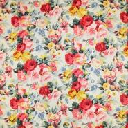 Saten, bombaž, cvetlični, 19508-050, belo rdeča