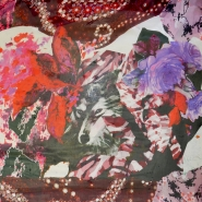 Tkanina, viskoza, cvetlični, 19538-1, rdeče vijola