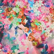 Tkanina, viskoza, cvetlični, 19538-2, roza