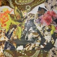 Tkanina, viskoza, cvetlični, 19538-8, zeleno rjava