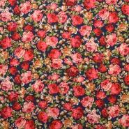 Gewebe, Viskose, floral, 193380-008, blau-rosa