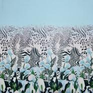 Šifon, poliester, cvetlični, 19546-7, modra
