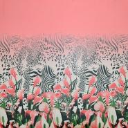 Šifon, poliester, cvetlični, 19546-3, roza