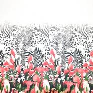 Šifon, poliester, cvetlični, 19546-4, bela
